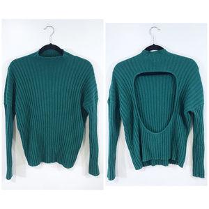 [UO] Kimchi Blue Mock Neck Green Open Back Sweater